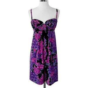 Silk Watercolor Floral Bustier Dress